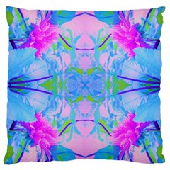 Pink And Purple Dahlia On Blue Pattern Large Cushion Case (one Side) by myrubiogarden