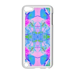 Pink And Purple Dahlia On Blue Pattern Apple Ipod Touch 5 Case (white) by myrubiogarden
