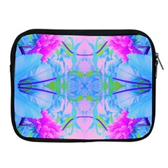 Pink And Purple Dahlia On Blue Pattern Apple Ipad 2/3/4 Zipper Cases by myrubiogarden