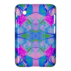 Pink And Purple Dahlia On Blue Pattern Samsung Galaxy Tab 2 (7 ) P3100 Hardshell Case  by myrubiogarden