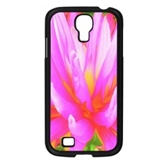 Fiery Hot Pink And Yellow Cactus Dahlia Flower Samsung Galaxy S4 I9500/ I9505 Case (black)