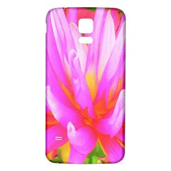 Fiery Hot Pink And Yellow Cactus Dahlia Flower Samsung Galaxy S5 Back Case (white) by myrubiogarden