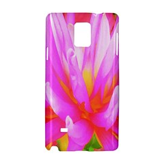 Fiery Hot Pink And Yellow Cactus Dahlia Flower Samsung Galaxy Note 4 Hardshell Case by myrubiogarden