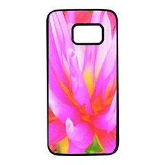 Fiery Hot Pink And Yellow Cactus Dahlia Flower Samsung Galaxy S7 Black Seamless Case by myrubiogarden