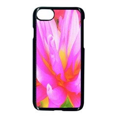 Fiery Hot Pink And Yellow Cactus Dahlia Flower Apple Iphone 7 Seamless Case (black) by myrubiogarden