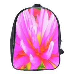 Fiery Hot Pink And Yellow Cactus Dahlia Flower School Bag (large) by myrubiogarden