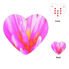 Fiery Hot Pink And Yellow Cactus Dahlia Flower Playing Cards (heart) by myrubiogarden