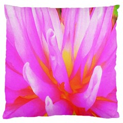 Fiery Hot Pink And Yellow Cactus Dahlia Flower Large Cushion Case (one Side)