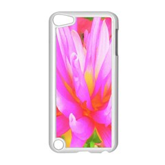 Fiery Hot Pink And Yellow Cactus Dahlia Flower Apple Ipod Touch 5 Case (white) by myrubiogarden