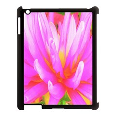 Fiery Hot Pink And Yellow Cactus Dahlia Flower Apple Ipad 3/4 Case (black)