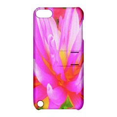 Fiery Hot Pink And Yellow Cactus Dahlia Flower Apple Ipod Touch 5 Hardshell Case With Stand by myrubiogarden