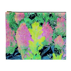 Fluorescent Yellow Smoke Tree With Pink Hydrangea Cosmetic Bag (xl)