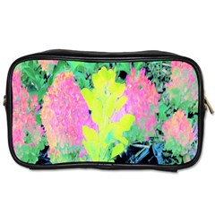 Fluorescent Yellow Smoke Tree With Pink Hydrangea Toiletries Bag (two Sides)