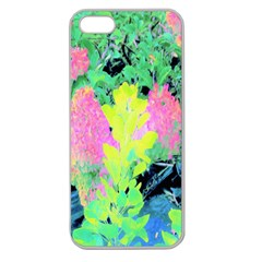 Fluorescent Yellow Smoke Tree With Pink Hydrangea Apple Seamless Iphone 5 Case (clear) by myrubiogarden