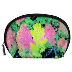 Fluorescent Yellow Smoke Tree With Pink Hydrangea Accessory Pouch (large) by myrubiogarden
