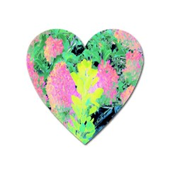 Fluorescent Yellow Smoke Tree With Pink Hydrangea Heart Magnet by myrubiogarden