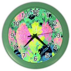 Fluorescent Yellow Smoke Tree With Pink Hydrangea Color Wall Clock by myrubiogarden