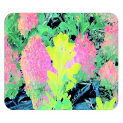 Fluorescent Yellow Smoke Tree With Pink Hydrangea Double Sided Flano Blanket (small)