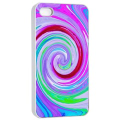 Groovy Abstract Red Swirl On Purple And Pink Apple Iphone 4/4s Seamless Case (white) by myrubiogarden