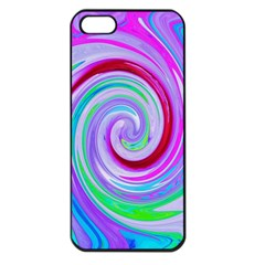 Groovy Abstract Red Swirl On Purple And Pink Apple Iphone 5 Seamless Case (black) by myrubiogarden