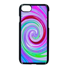 Groovy Abstract Red Swirl On Purple And Pink Apple Iphone 7 Seamless Case (black)