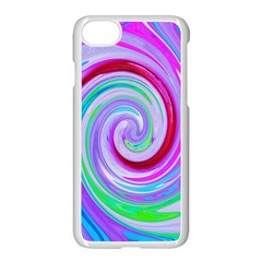 Groovy Abstract Red Swirl On Purple And Pink Apple Iphone 8 Seamless Case (white) by myrubiogarden