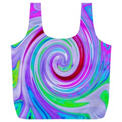 Groovy Abstract Red Swirl On Purple And Pink Full Print Recycle Bag (xl) by myrubiogarden