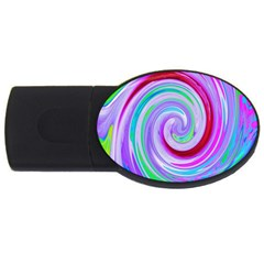 Groovy Abstract Red Swirl On Purple And Pink Usb Flash Drive Oval (4 Gb) by myrubiogarden
