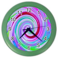 Groovy Abstract Red Swirl On Purple And Pink Color Wall Clock by myrubiogarden