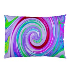 Groovy Abstract Red Swirl On Purple And Pink Pillow Case by myrubiogarden