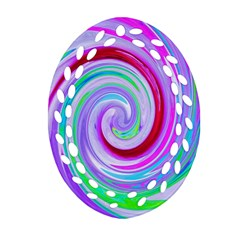 Groovy Abstract Red Swirl On Purple And Pink Oval Filigree Ornament (two Sides) by myrubiogarden