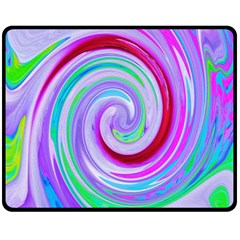 Groovy Abstract Red Swirl On Purple And Pink Double Sided Fleece Blanket (medium)  by myrubiogarden