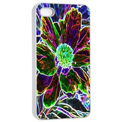 Abstract Garden Peony In Black And Blue Apple Iphone 4/4s Seamless Case (white) by myrubiogarden