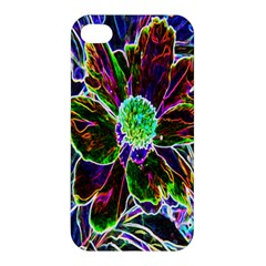 Abstract Garden Peony In Black And Blue Apple Iphone 4/4s Hardshell Case