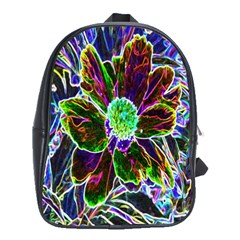 Abstract Garden Peony In Black And Blue School Bag (large) by myrubiogarden