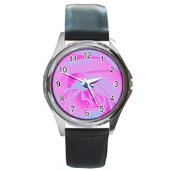Perfect Hot Pink And Light Blue Rose Detail Round Metal Watch by myrubiogarden