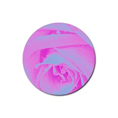 Perfect Hot Pink And Light Blue Rose Detail Rubber Coaster (round)  by myrubiogarden