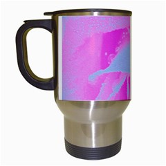 Perfect Hot Pink And Light Blue Rose Detail Travel Mugs (white) by myrubiogarden