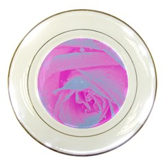 Perfect Hot Pink And Light Blue Rose Detail Porcelain Plates by myrubiogarden