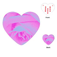 Perfect Hot Pink And Light Blue Rose Detail Playing Cards (heart) by myrubiogarden