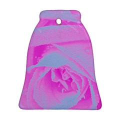 Perfect Hot Pink And Light Blue Rose Detail Bell Ornament (two Sides)