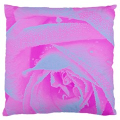 Perfect Hot Pink And Light Blue Rose Detail Large Flano Cushion Case (one Side) by myrubiogarden