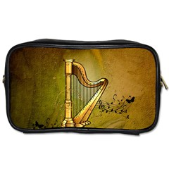 Wonderful Golden Harp On Vintage Background Toiletries Bag (two Sides)