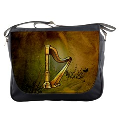 Wonderful Golden Harp On Vintage Background Messenger Bag by FantasyWorld7