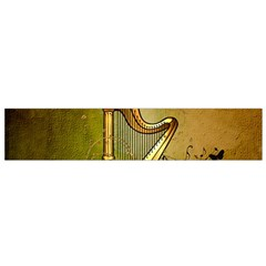 Wonderful Golden Harp On Vintage Background Small Flano Scarf