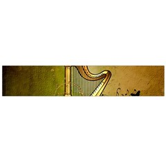 Wonderful Golden Harp On Vintage Background Large Flano Scarf