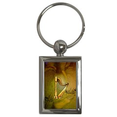 Wonderful Golden Harp On Vintage Background Key Chains (rectangle)  by FantasyWorld7