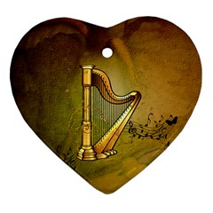 Wonderful Golden Harp On Vintage Background Heart Ornament (two Sides) by FantasyWorld7