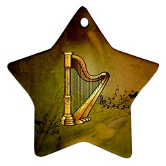 Wonderful Golden Harp On Vintage Background Star Ornament (two Sides) by FantasyWorld7