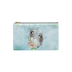Cute Little Maltese With Flowers Cosmetic Bag (small)